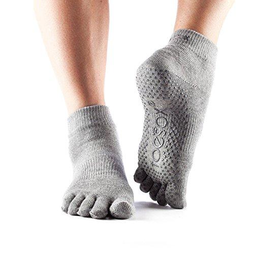 ToeSox Zehensocken, knöchellang, für Yoga Gr. Medium, grau