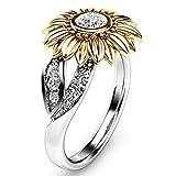 Lucaswang Anillo de girasol, anillo de compromiso, anillo de boda y joyería