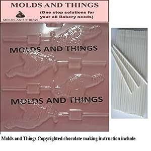 Moules et objets ROOSTER Moule Sucettes Chocolat avec Instruction © modelante - 50 batonnets à sucettes