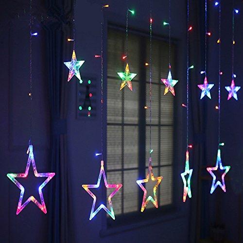 MJTP 138 LEDs 12 Sterne LED Lichterketten 8 Licht Modi Streifen Weihnachten Baum XMAS Party Hochzeit Kinderzimmer Dekoration Draussen Innen Lampen (Bunt) - 2