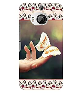 PrintDhaba Butterfly D-3080 Back Case Cover for HTC ONE M9 PLUS (Multi-Coloured)
