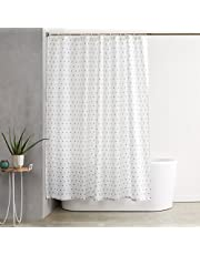 AmazonBasics Shower Curtain with Hooks - 72 x 72 inches, Blue Squares