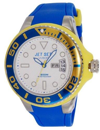 Jet Set–j55223-16Wb30Diver Rubber Strap Men's Watch–Analogue Quartz–White Dial–Blue