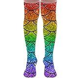 fdghjdyjdty Funny Rainbow Mermaid Tail Unisex Over The Knee High Socks Women & Men Sport High Stockings 1 Pair...