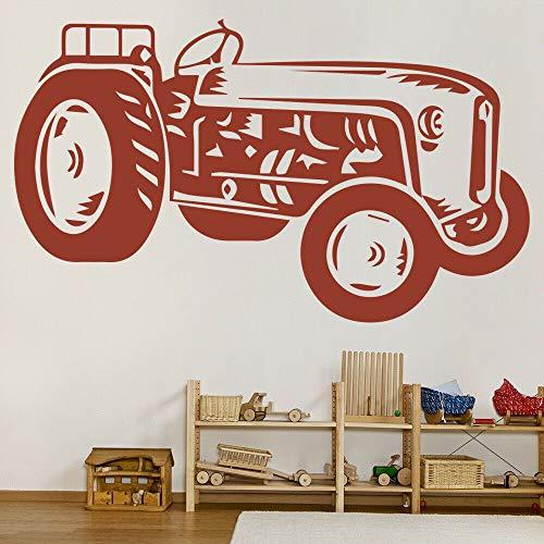 Geiqianjiumai Vintage Traktor Auto Zimmer Wandtattoo Vinyl Wandaufkleber Schlafzimmer Küche Restaurant Decor Brick Red 42x70 cm