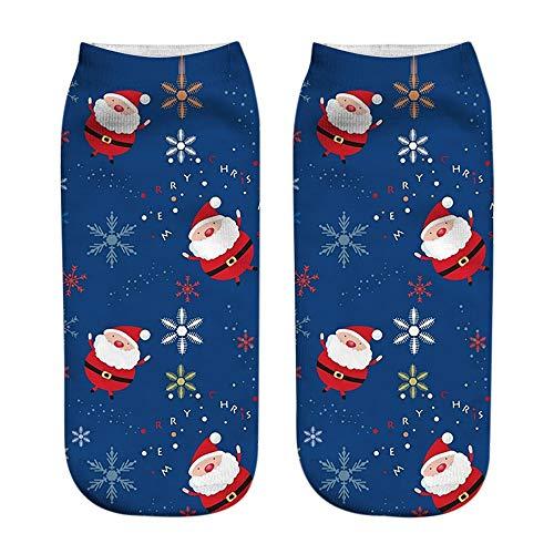 Plain Low-cut (Elsta Unisex 3D Drucken Weihnachten Socken Niedlich Festlicher Baumwolle Socken Mode Low Cut Knöchel Socken Casual Socks Comfort Atmungsaktiv Baumwollsocken Christmas Socks(F2,Onesize))