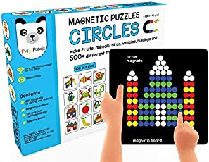 Play Panda New Magnetic Puzzles Circles - with 250 Colorful Magnets, 100 Puzzle Book, Magnetic Board and Display Stand