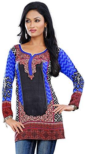 India Tuniche Kurti Top Camicetta Delle Donne Abbigliamento (Blu, XXL)