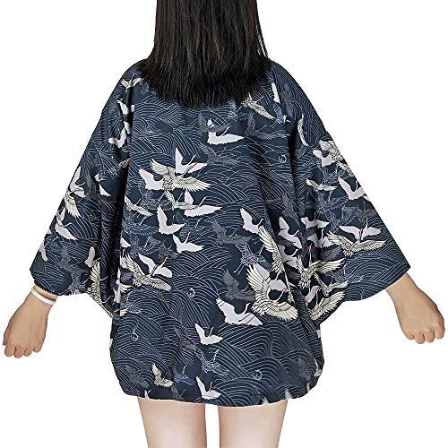 G-like Japanische Kimonos Damen Kleiung - Traditionell Haori Kostüm Robe Tokio Harajuku Drachen Muster Antik Jacke Nachthemd Bademantel Nachtwäsche (Blau)