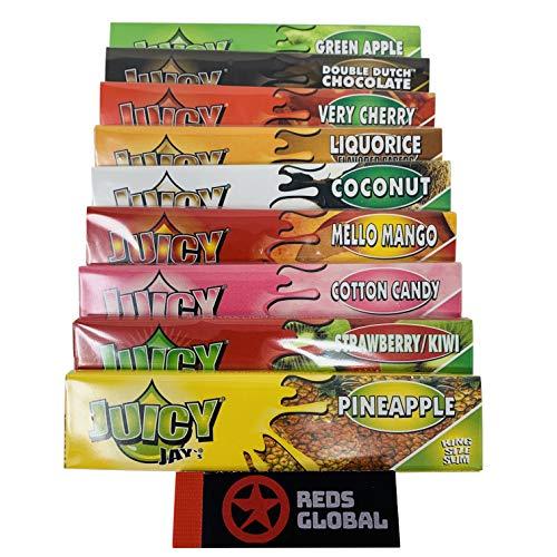 Reds Exklusiv 9 Heftchen Aromatisiertes Zigarettenpapier King Size Slim von Juicy Jay's + Reds Ungebleichtes Filtertips