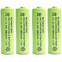 BuyaBattery AA 1.2v 600mAh NiMH Rechargeable Solar Light Batteries for Outdoor Garden Solar Lights (4 Pack)