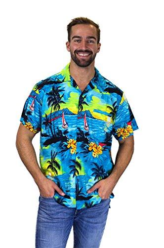 Funky Hawaiihemd, Surf, türkis, 3XL