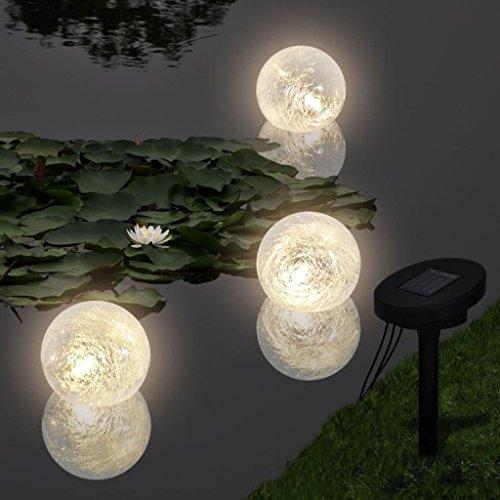 mewmewcat LED Floating Ball Solar Bowl Stimmungslicht Garten Deko Kugeln 3 Licht für Teich Schwimmbad