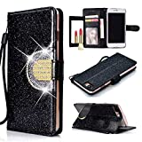 UEEBAI Portefeuille Coque pour iPhone 7 Plus 8 Plus, Premium Glitter PU étui en Cuir Miroir [Boucle de Diamant] [Fentes pour Cartes] [Fermoir magnétique] Stand Fonction Strass TPU Housse - Noir