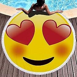 Emoji Toalla de playa grande redondo microfibra toalla de playa playa manta Toalla Mantel de picnic pared colgantes Yoga Alfombras 150cm Amarillo 3