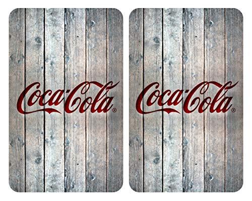 Wenko Glasabdeckplatten Universal Coca-Cola Wood 2er Set, Kochplattenabdeckung und Schneidebrett für Alle Herdarten, Gehärtetes Glas, Mehrfarbig, 52 x 30 x 4,5 cm