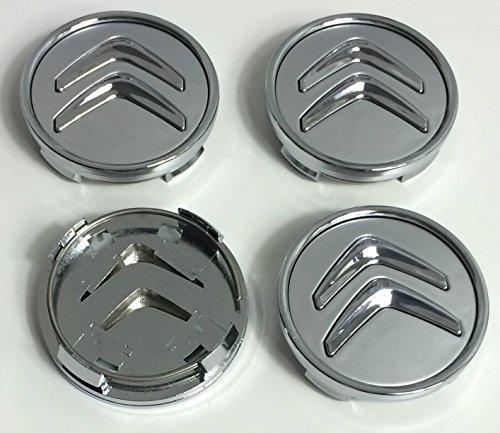 Lot de 4 cache-moyeux en aluminium de 60 mm pour Citroen - Logo gris et chromé