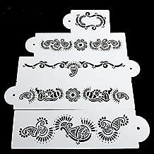 september-europe 5pcs peces cola para tarta Chocolate herramientas, pastel postre decoración Stencil Bakin herramientas, fondant molde de café, tartas flor borde herramientas