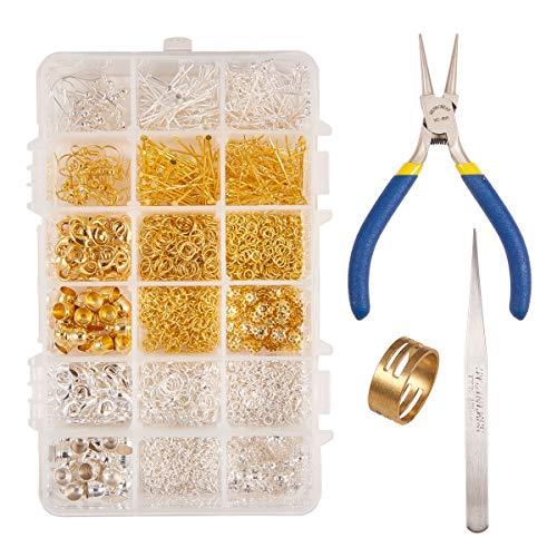 PandaHall Elite - 1360Pcs 2 Couleur Kit de Creation de Bijoux Accessoires Composant de Boucles d'oreilles Crochet de Boucle d'oreille Poussoir Embout Pince de Bijoux Pince à Becs Ronds Pince à épiler