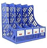 AllSquare - Archivador profesional de malla de plástico, organizador de escritorio para documentos de papel, 4 compartimentos verticales, color azul