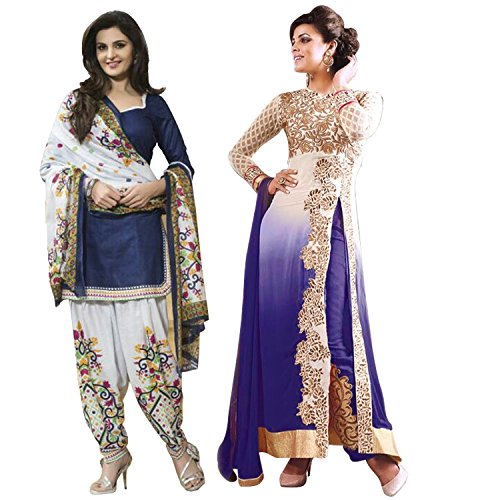 PinkDot Women\'s Clothing Blue Georgette Anarkali Salwar Suit And Blue Polyester Patiyala Partywear Salwar Suit Combo Pack Of 2 (PDAY-5007-PD-5051a)