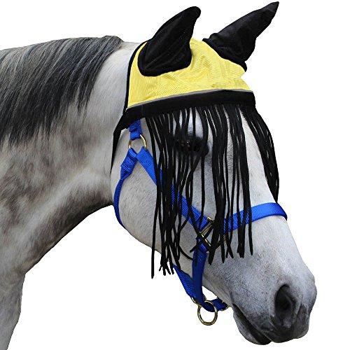 Derby weichem Nylon Mesh Fly Motorhaube Schleier für Pferde mit Ohren, Fransen, und reflektierender Rand-mehrere Farben-alle Größen