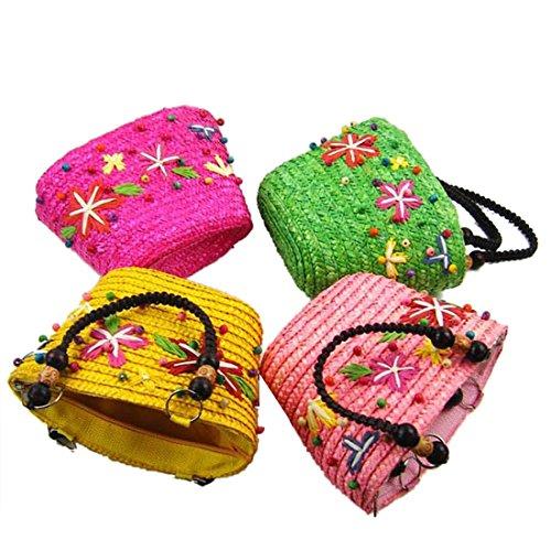 Donne Caramella Di Estate Casuale Colore Tessitura Tote Bag Borse Di Spalla Di Acquisto Blu