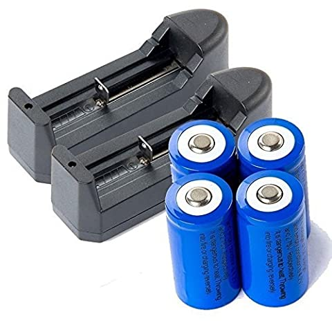 New 4pcs 16340 3.7V Li-ion Rechargeable Battery + Charger