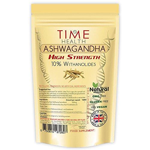 Ashwagandha – 10% Withanolide – Maximale Stärke – Maximale Vorteile – Hergestellt im Vereinigten Königreich (120 Kapseln pro Beutel)