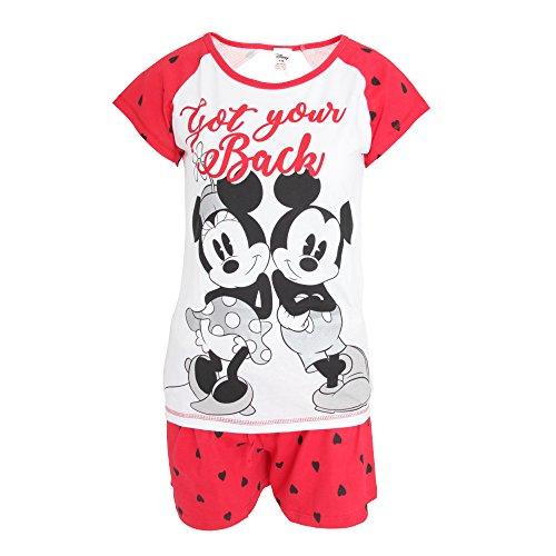 Disney Damen Pyjama mit Mickey und Minnie Maus Design (38/40 DE) (Weiß/Rot)