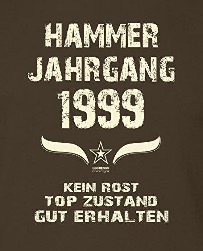 Geschenk zum 18. Geburtstag :-: Geschenkidee Herren kurzarm Geburtstags-T-Shirt mit Jahreszahl :-: Hammer Jahrgang 1999 :-: Geburtstagsgeschenk Männer:-: Farbe: braun Braun