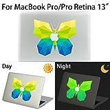 MacBook Pro/Pro Retina Aufkleber, AKPATI Haut Aufkleber Removable Leuchtender Aufkleber Skin Laptop Decal Sticker Abdeckung Abziehbild für MacBook Pro/Pro Retina 13 Zoll - Butterfly #1 Pattern