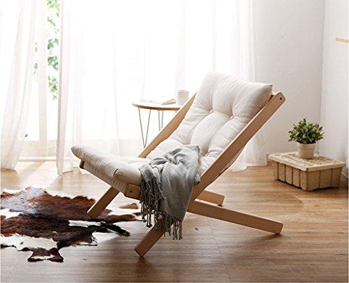 LI JING SHOP - pli Chaise longue Tapis de coton avec bois massif loisirs canapé paresseux Agrandir la taille 65X89X78cm taille de pliage 134X8 cm ( Couleur : Blanc )
