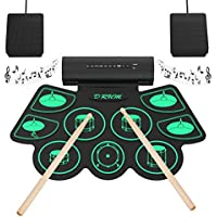 Electronic Drum Set Digital Roll-Up MIDI Drum Kit 9 Silicon Durm Pad Built-In Stereo Speaker with 2 Foot Pedal for Children Beginners - Uverbon