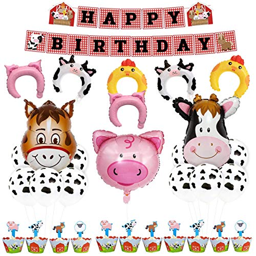 ier Party Dekorationen liefert Bauernhof Tier Ballons Happy Birthday Banner Cupcake Topper Wrapper für Kinder Barnyard Geburtstag ()