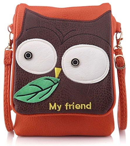 Big Handbag Shop, borsetta per ragazzini con decorazione di gufo (arancione)