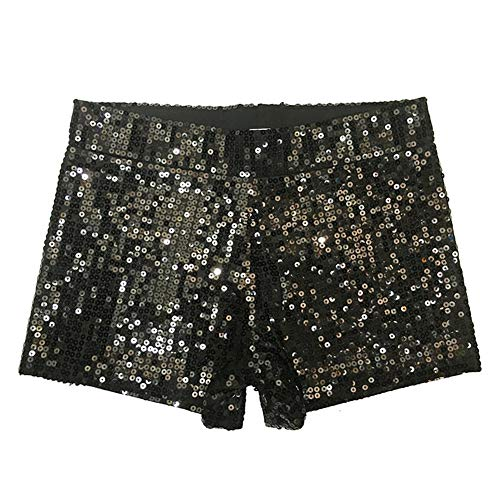 Damen Clubwear Pailletten Funkelnde Taille Shorts Mini Hot Pants DS Pole Dance Kostüm,Black,M (Hot Dance Kostüm)