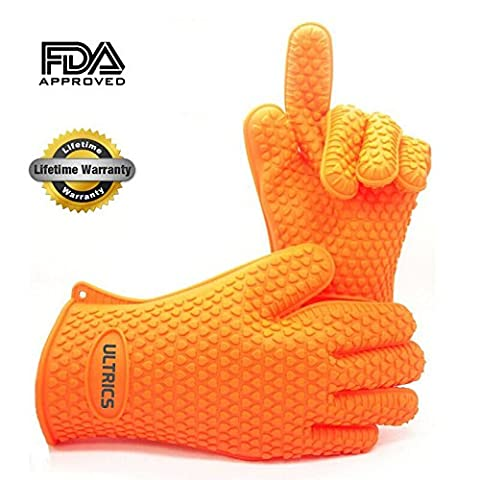 ULTRICS Silicone Heat Resistant Oven Grilling BBQ Gloves Set ★ Best Value - Perfect For Use as Cooking Gloves, Baking, Smoking, Potholder, Hot Food in High Temperature In The Kitchen, ★ Grilling Gloves, Oven Gloves or Even Camping! ★ Protect Your Hands, Avoid Accidents With Insulated Waterproof Five Fingered Grip, Far More Protection And Easy to Use Than Oven Mittens! (1 Size Fits All (175g), ORANGE)