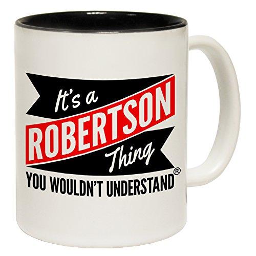 '123T Mugs Kaffeebecher New IT 'S A ROBERTSON, was Sie nicht verstehen Keramik Spruch-Tasse, keramik, schwarz