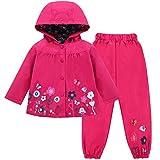 LZH Mädchen Kinder Regenjacke mit Kapuze Regenhose 2pcs Bekleidungsset (4-5 Years(120), Magenta)