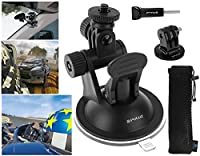 Suction Cup for GoPro, PuluzŽ - Window Mount, 2 Stage Pivot with TriPod Mount & Thumbscrew for Fusion HERO 6 HERO 5 HERO 4, 3, 2, 1 & Other Action Cameras