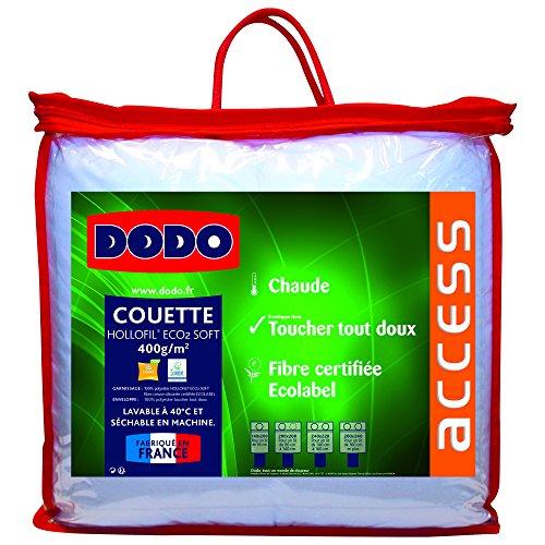 Dodo Couette Unie Soft, Enveloppe Microperf + Garnissage: 100% Polyester Hollofil Eco² Souple 400 g/m² Fibre Creuse Siliconée, Blanc, 200/200