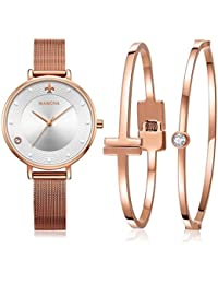 MAMONA Damen Uhr Set Analog Quarz mit Edelstahl Anpassbares Netzband Armband L3883RGGT