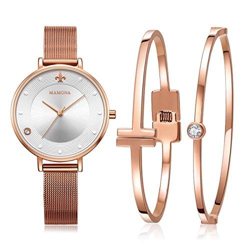 MAMONA Damen Uhr Set Analog Quarz mit Edelstahl Anpassbares Netzband Armband L3883RGGT (Anpassbare Uhren-box)
