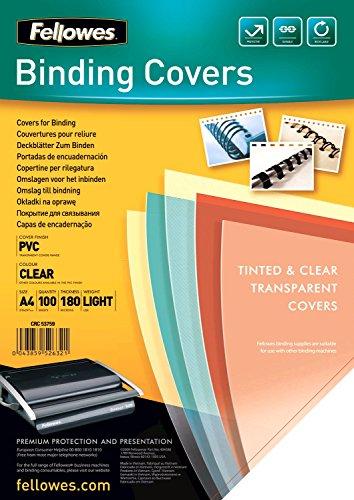 Fellowes Cristal - Portadas de encuadernación (PVC, formato A4, paquete de 100)