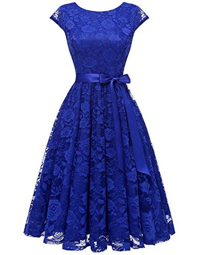 Berylove BLP7016 Frauen Elegantes Spitzen Knielang Brautjungfernkleid Cocktail Kleid Partykleider...
