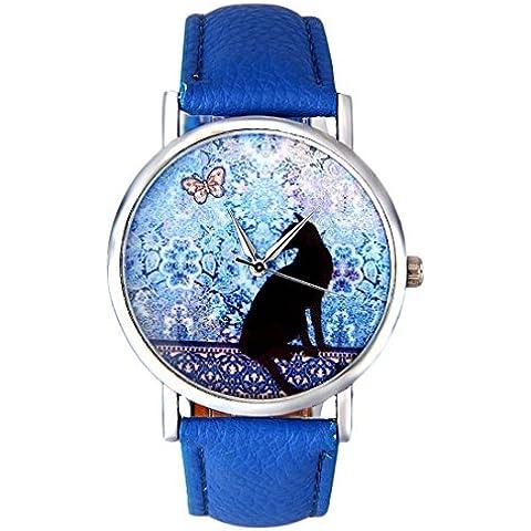 Xinantime Moda Orologio Carina Gatto Modello Colore Blu Donna