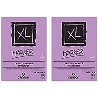 Canson XL Marker - Album di carta da disegno, con colla sul lato corto, 100 fogli, 70 g, formato A4, 2 pezzi, colore: bianco
