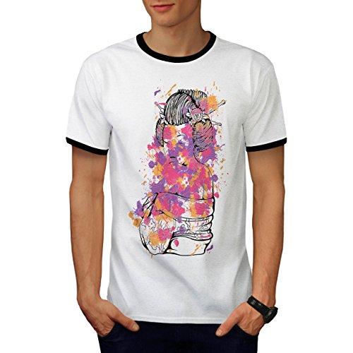 Geisha Sexy Kunst Fantasie orientalisch Herren M Ringer T-shirt   (Superhelden Kunst Sexy)