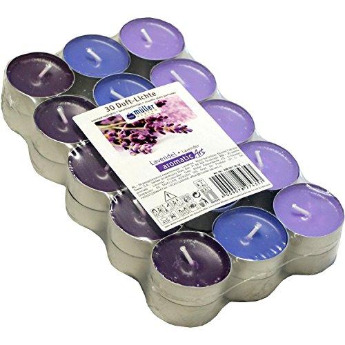 30 farbig sortierte Duft - Teelichte, 4 Std Brennd., Duft: Lavendel, Markenware von Müller Kerzen